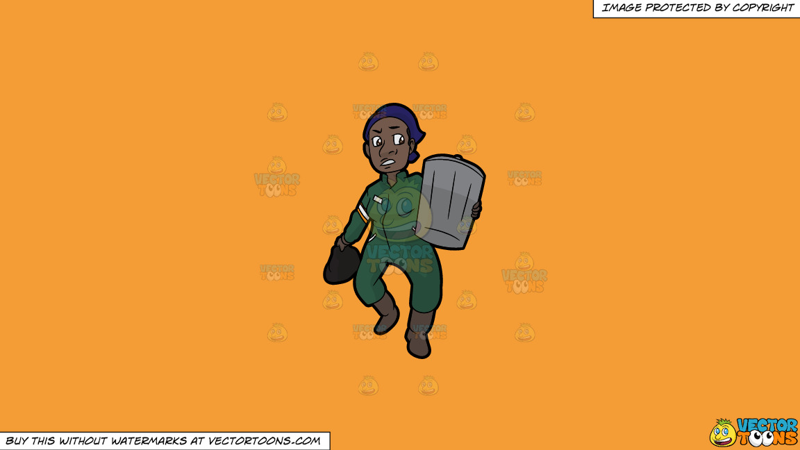 A Black Female Sanitation Worker Carrying A Trash Can On A Solid Deep Saffron Gold F49d37 Background thumbnail