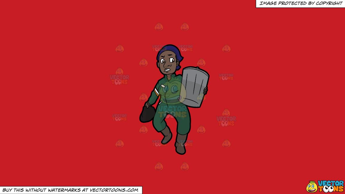A Black Female Sanitation Worker Carrying A Trash Can On A Solid Fire Engine Red C81d25 Background thumbnail
