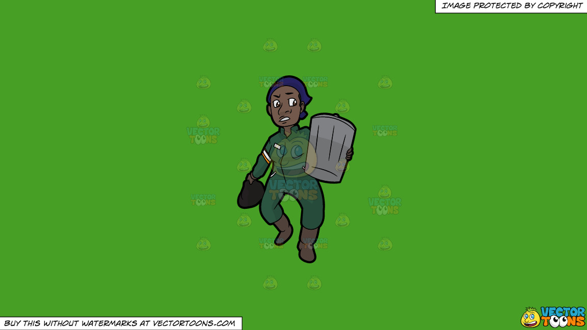 A Black Female Sanitation Worker Carrying A Trash Can On A Solid Kelly Green 47a025 Background thumbnail