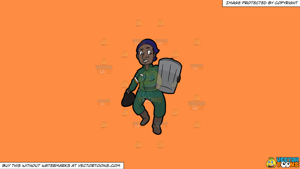 A Black Female Sanitation Worker Carrying A Trash Can On A Solid Mango Orange Ff8c42 Background thumbnail