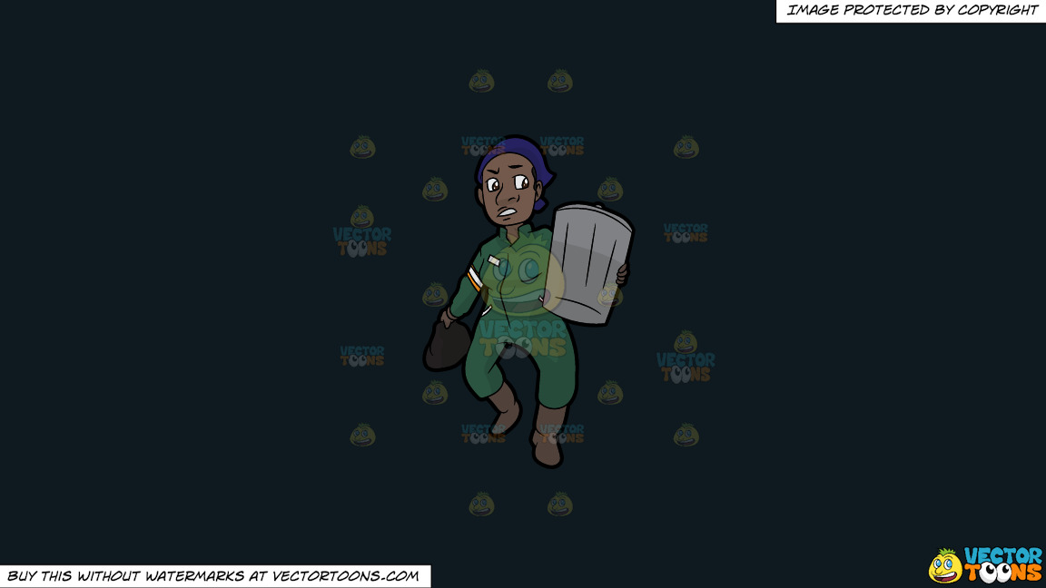 A Black Female Sanitation Worker Carrying A Trash Can On A Solid Off Black 0f1a20 Background thumbnail