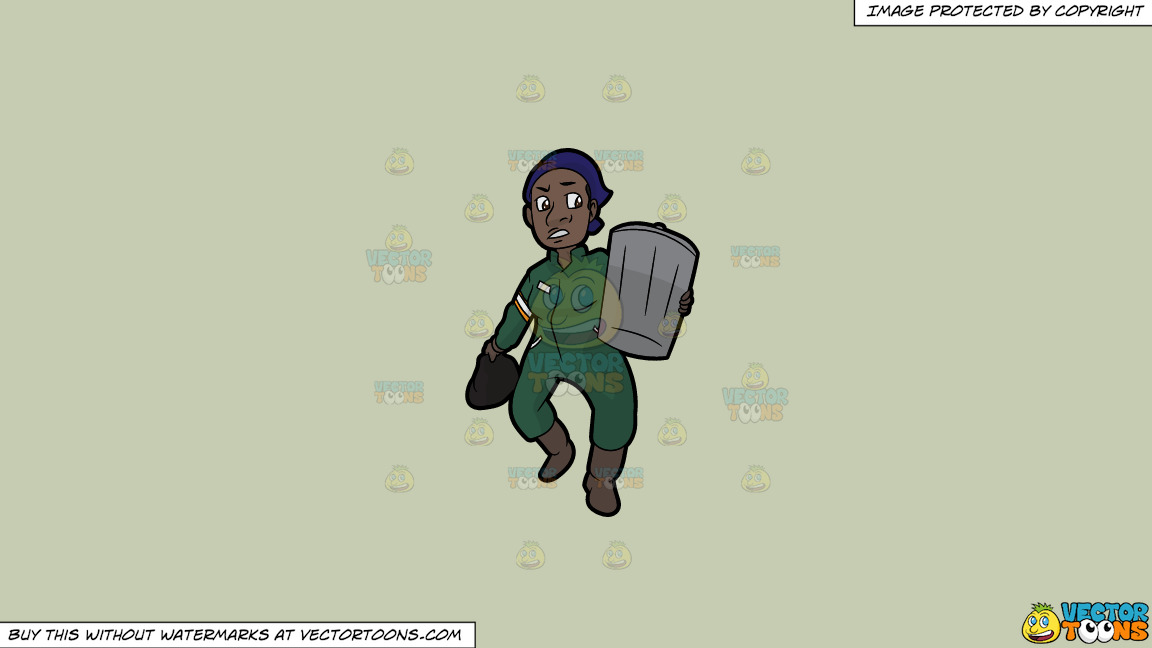 A Black Female Sanitation Worker Carrying A Trash Can On A Solid Pale Silver C6ccb2 Background thumbnail