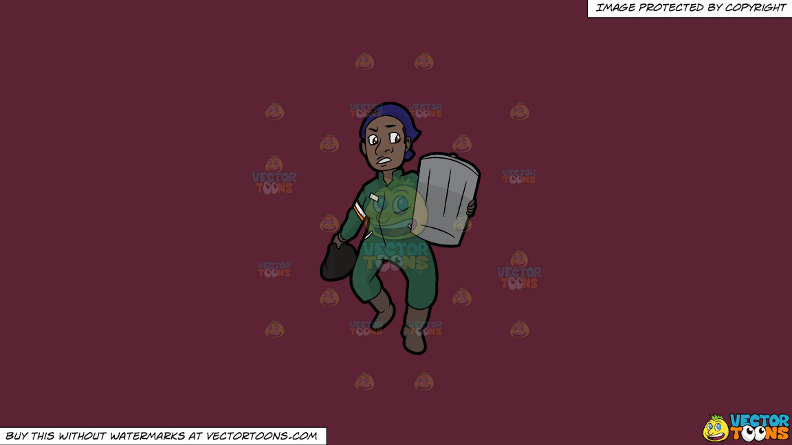 A Black Female Sanitation Worker Carrying A Trash Can On A Solid Red Wine 5b2333 Background thumbnail