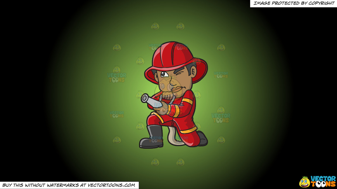 A Black Firefighter Aiming The Hose Towards A Fire On A Green And Black Gradient Background thumbnail