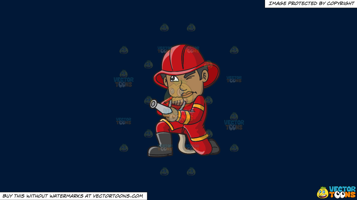 A Black Firefighter Aiming The Hose Towards A Fire On A Solid Dark Blue 011936 Background thumbnail