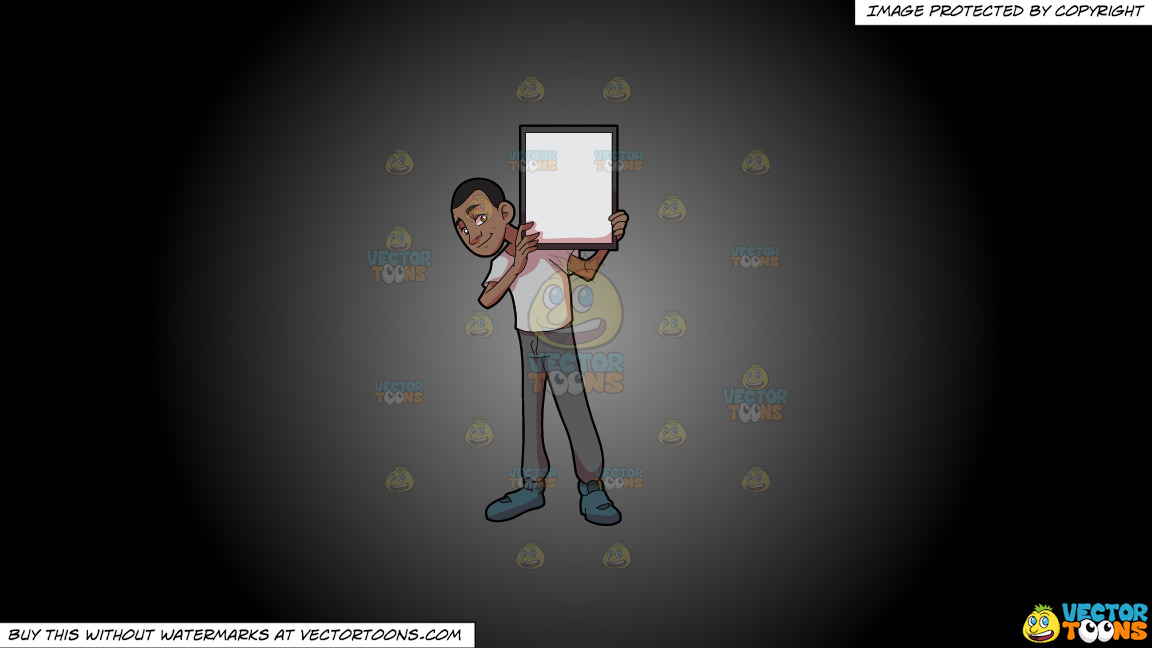A Black Guy Holding A Signboard On A Grey And Black Gradient Background thumbnail