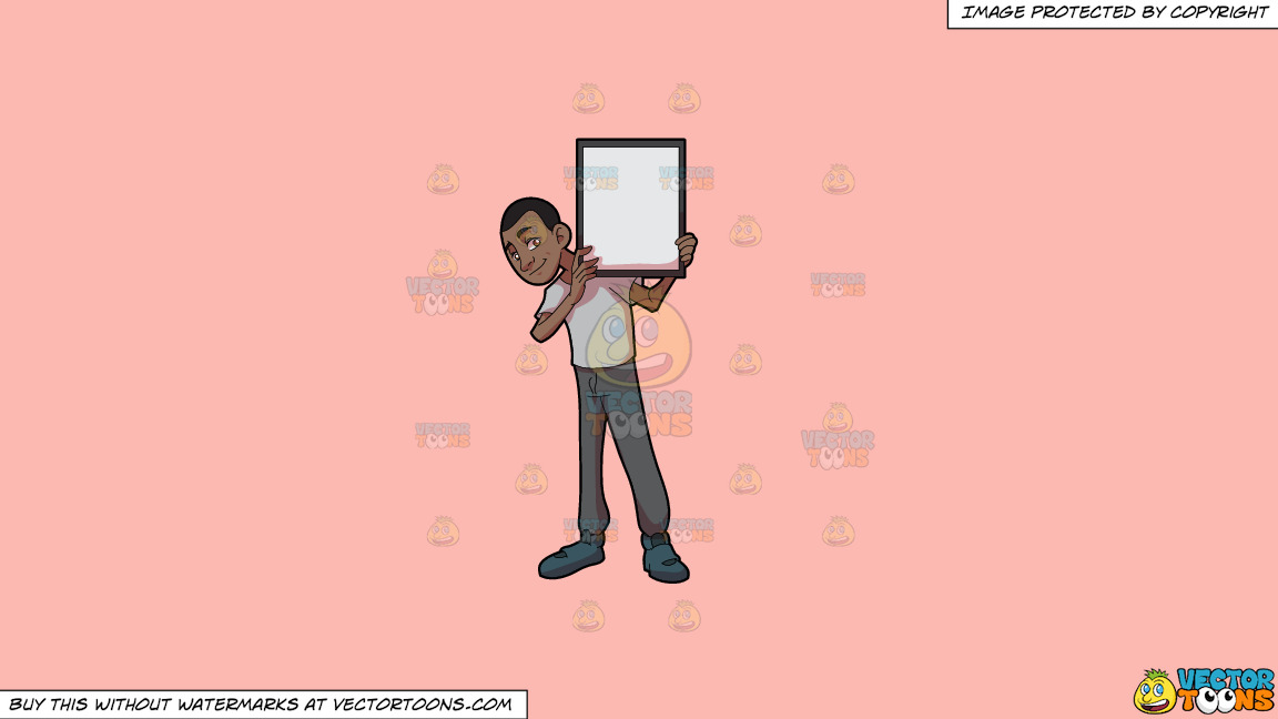 A Black Guy Holding A Signboard On A Solid Melon Fcb9b2 Background thumbnail