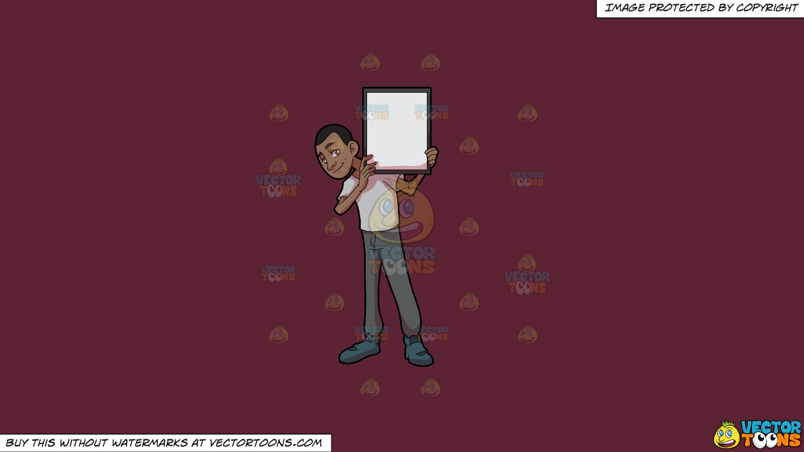 A Black Guy Holding A Signboard On A Solid Red Wine 5b2333 Background thumbnail