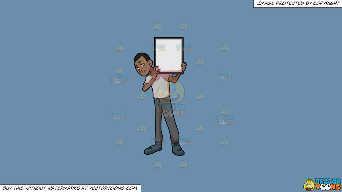 A Black Guy Holding A Signboard On A Solid Shadow Blue 6c8ead Background thumbnail