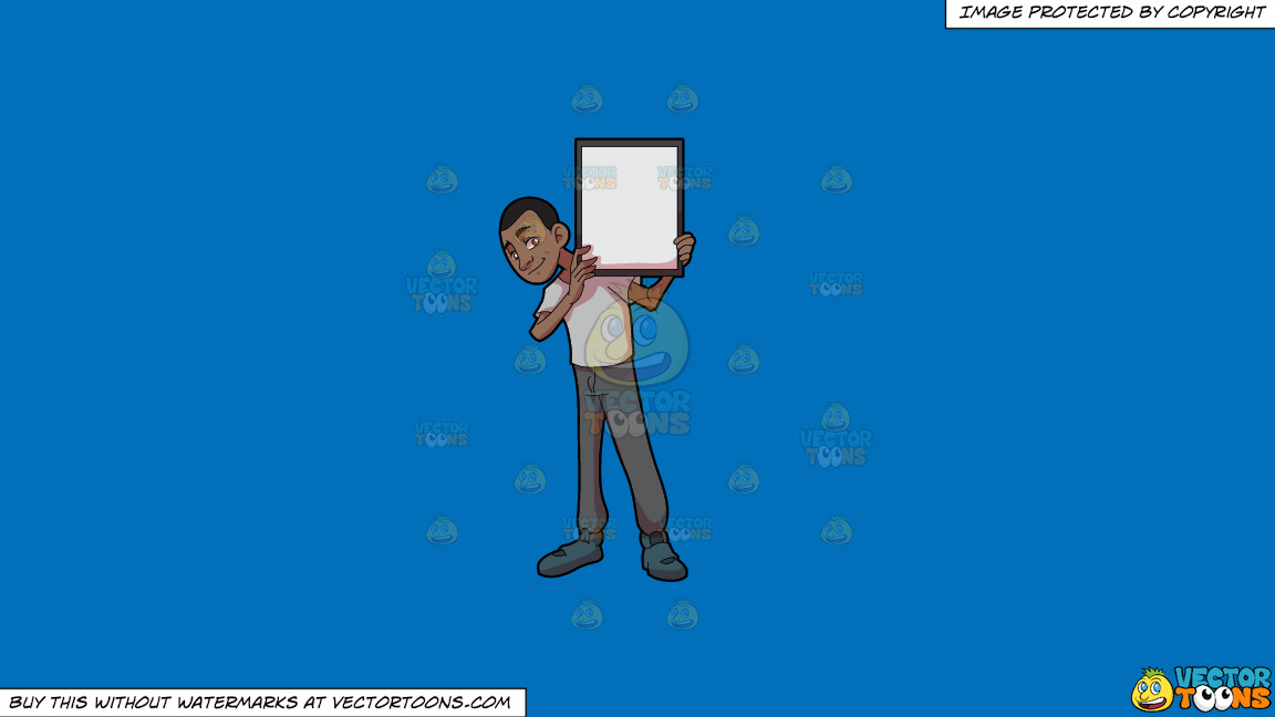 A Black Guy Holding A Signboard On A Solid Spanish Blue 016fb9 Background thumbnail