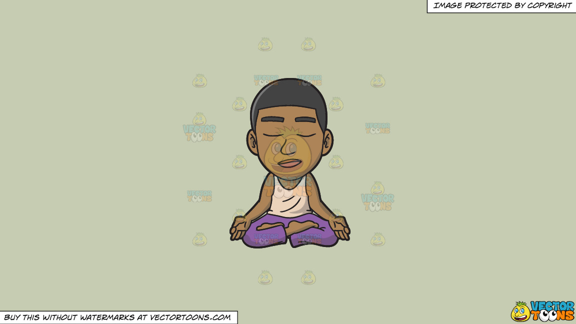 A Black Guy In Deep Meditation On A Solid Pale Silver C6ccb2 Background thumbnail