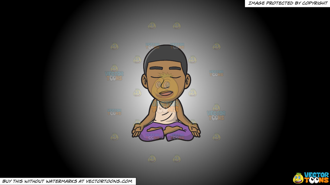 A Black Guy In Deep Meditation On A White And Black Gradient Background thumbnail
