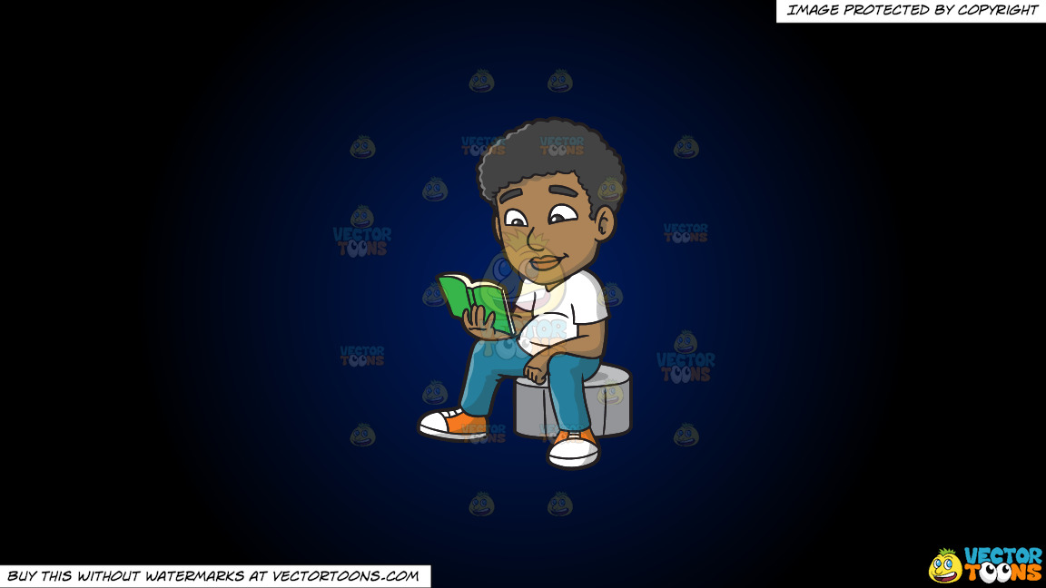 A Black Guy Reading A Book On A Dark Blue And Black Gradient Background thumbnail