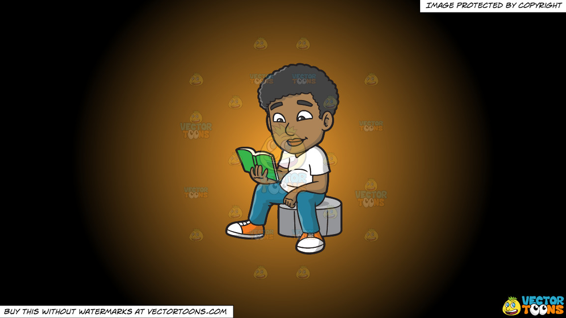 A Black Guy Reading A Book On A Orange And Black Gradient Background thumbnail