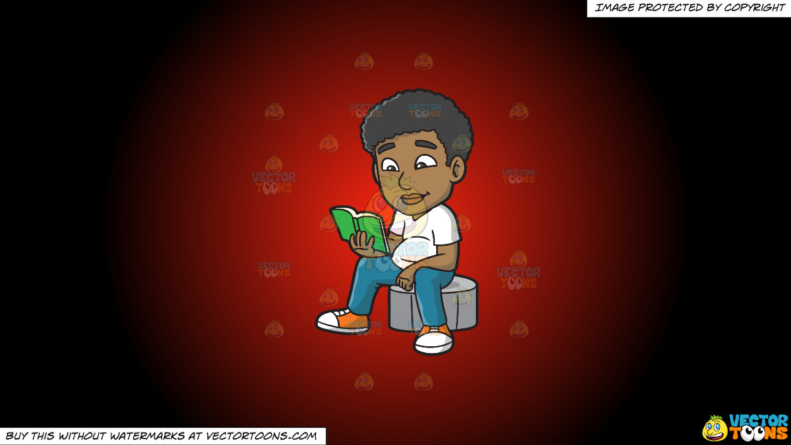 A Black Guy Reading A Book On A Red And Black Gradient Background thumbnail