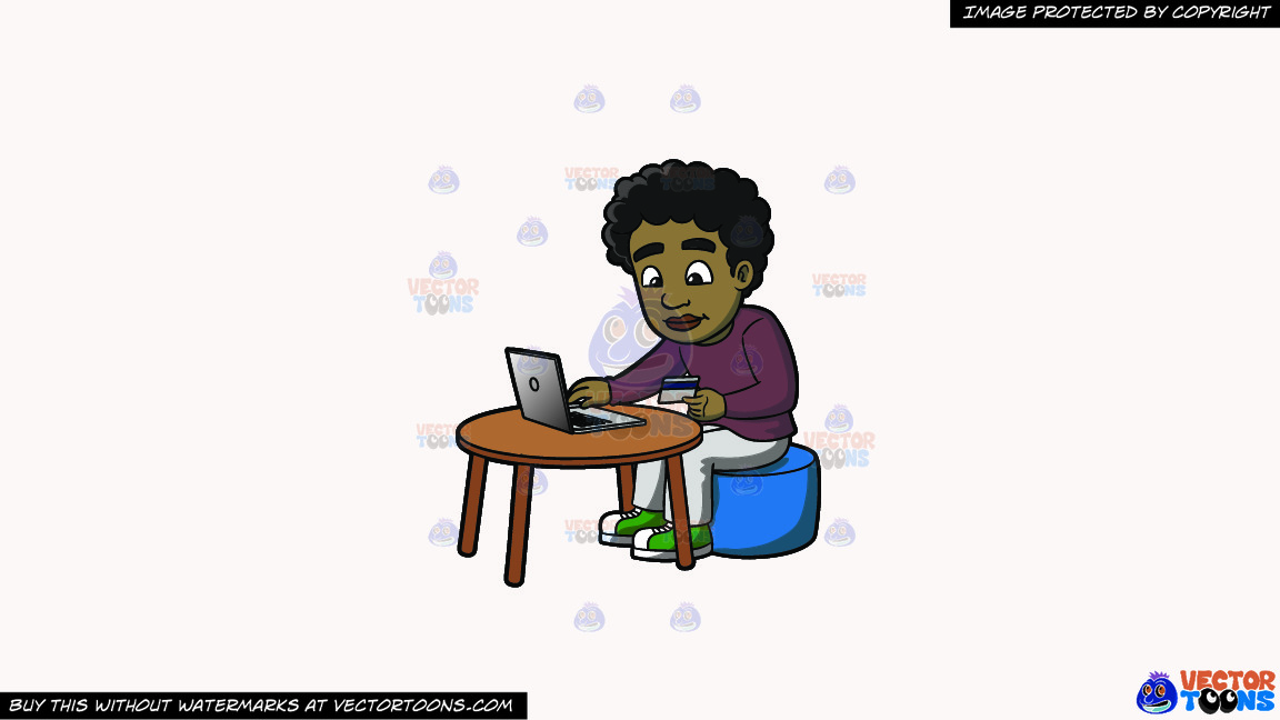 A Black Guy Shops Online For Products On A Solid White Smoke F7f4f3 Background thumbnail