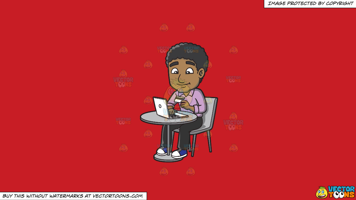 A Black Guy Shops Online Via His Laptop On A Solid Fire Engine Red C81d25 Background thumbnail