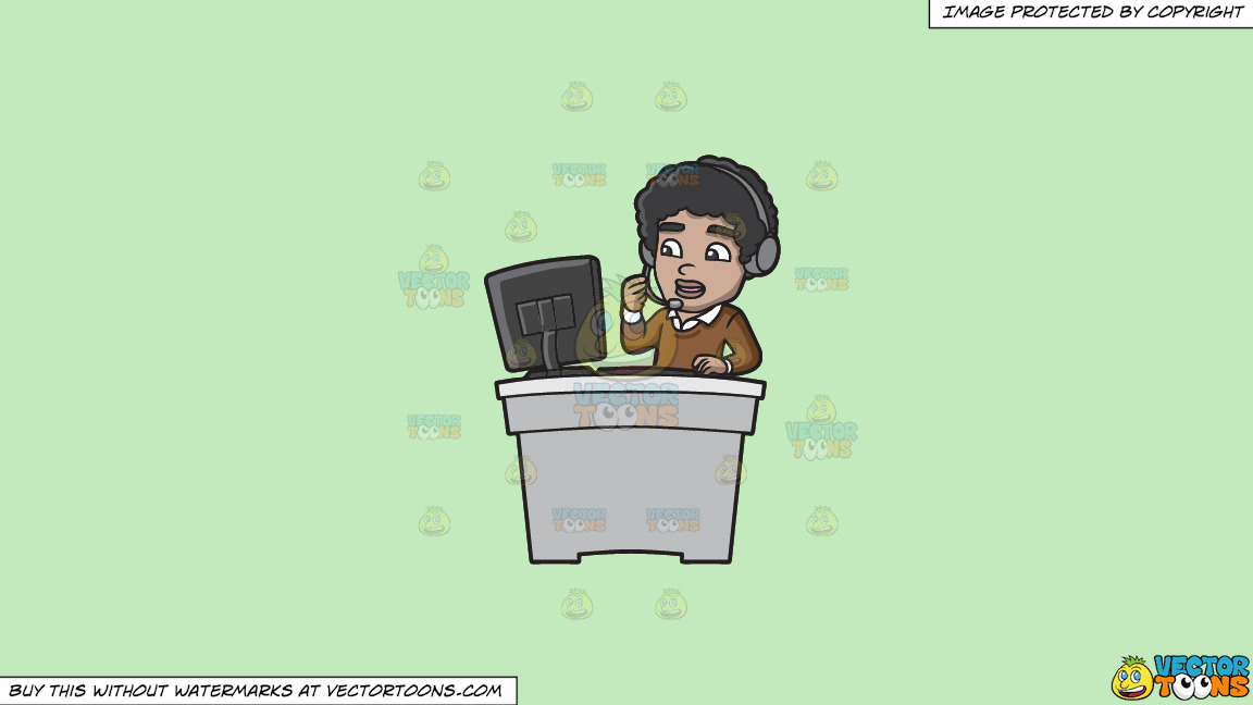A Black Guy Working As A Call Center Agent On A Solid Tea Green C2eabd Background thumbnail