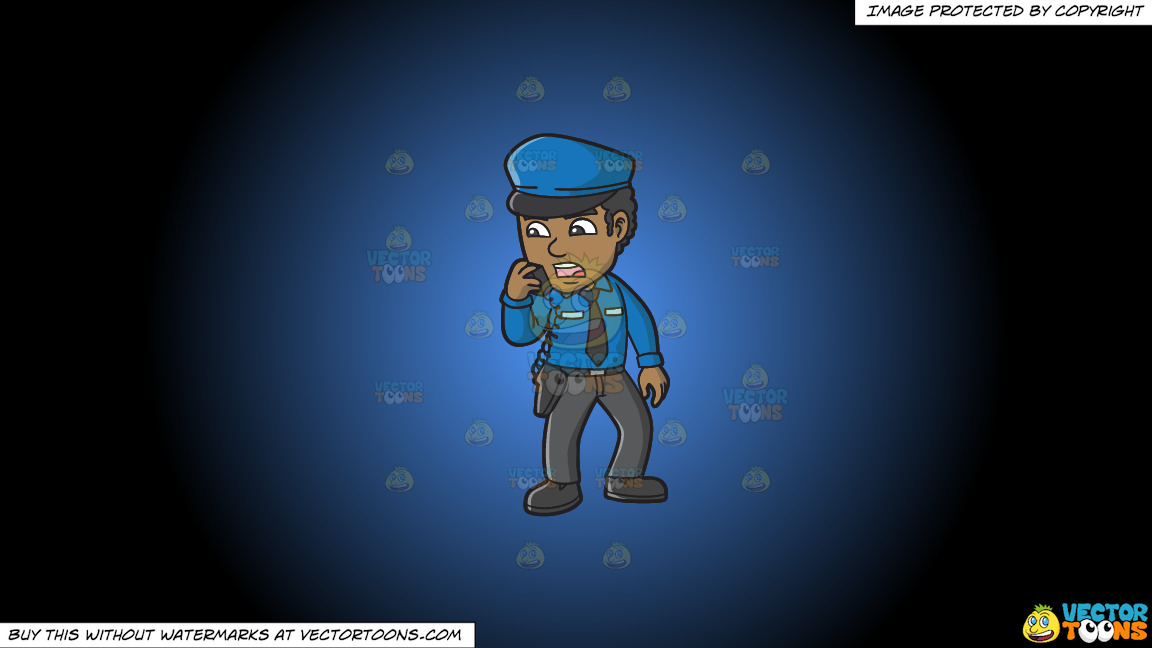 A Black Male Airport Security Guard Carrying Out Orders On A Blue And Black Gradient Background thumbnail