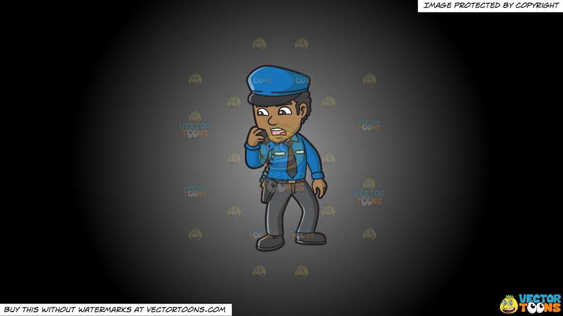A Black Male Airport Security Guard Carrying Out Orders On A Grey And Black Gradient Background thumbnail