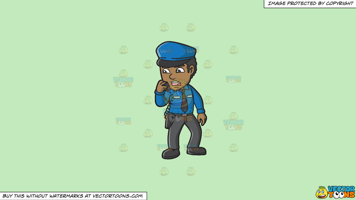 A Black Male Airport Security Guard Carrying Out Orders On A Solid Tea Green C2eabd Background thumbnail