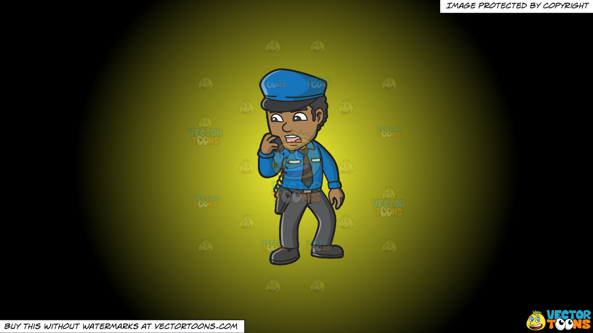 A Black Male Airport Security Guard Carrying Out Orders On A Yellow And Black Gradient Background thumbnail