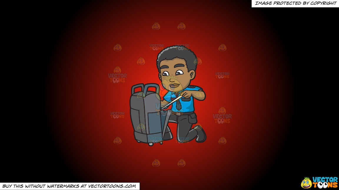 A Black Male Airport Security Guard Inspecting Some Luggage On A Red And Black Gradient Background thumbnail