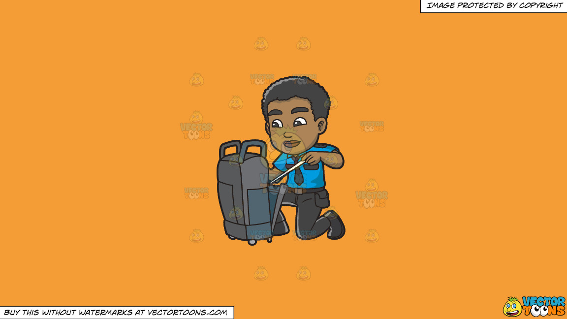 A Black Male Airport Security Guard Inspecting Some Luggage On A Solid Deep Saffron Gold F49d37 Background thumbnail