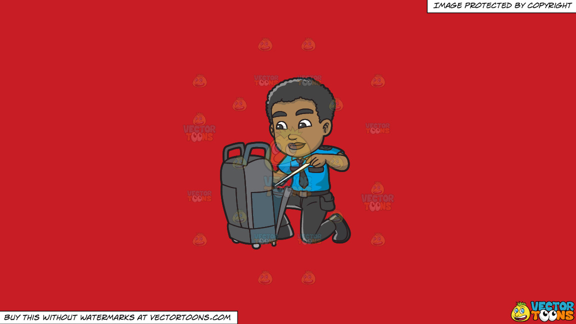 A Black Male Airport Security Guard Inspecting Some Luggage On A Solid Fire Engine Red C81d25 Background thumbnail