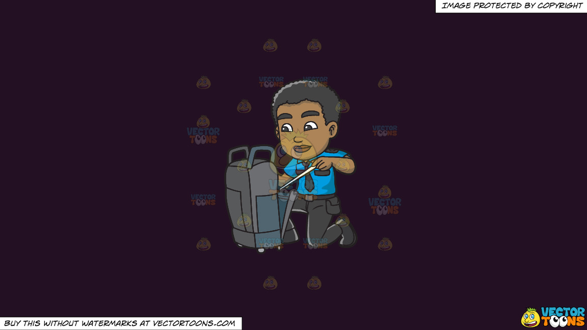 A Black Male Airport Security Guard Inspecting Some Luggage On A Solid Purple Rasin 241023 Background thumbnail