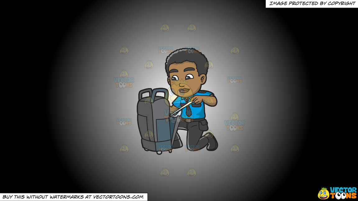 A Black Male Airport Security Guard Inspecting Some Luggage On A White And Black Gradient Background thumbnail