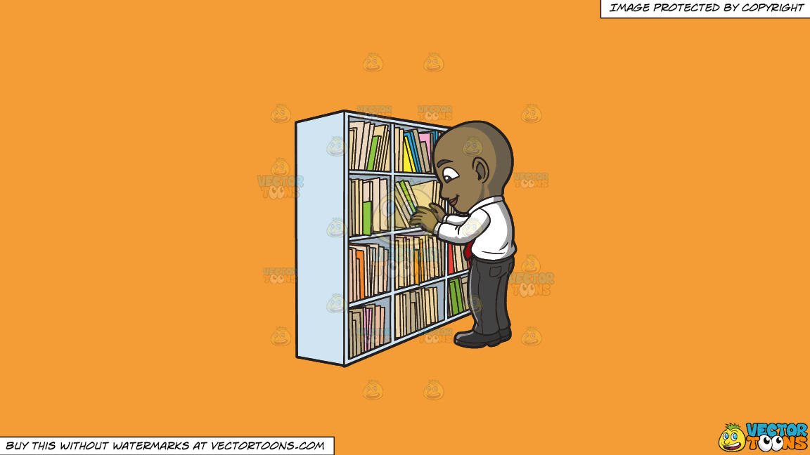 A Black Male Office Worker Scanning Folders In The File Room On A Solid Deep Saffron Gold F49d37 Background thumbnail