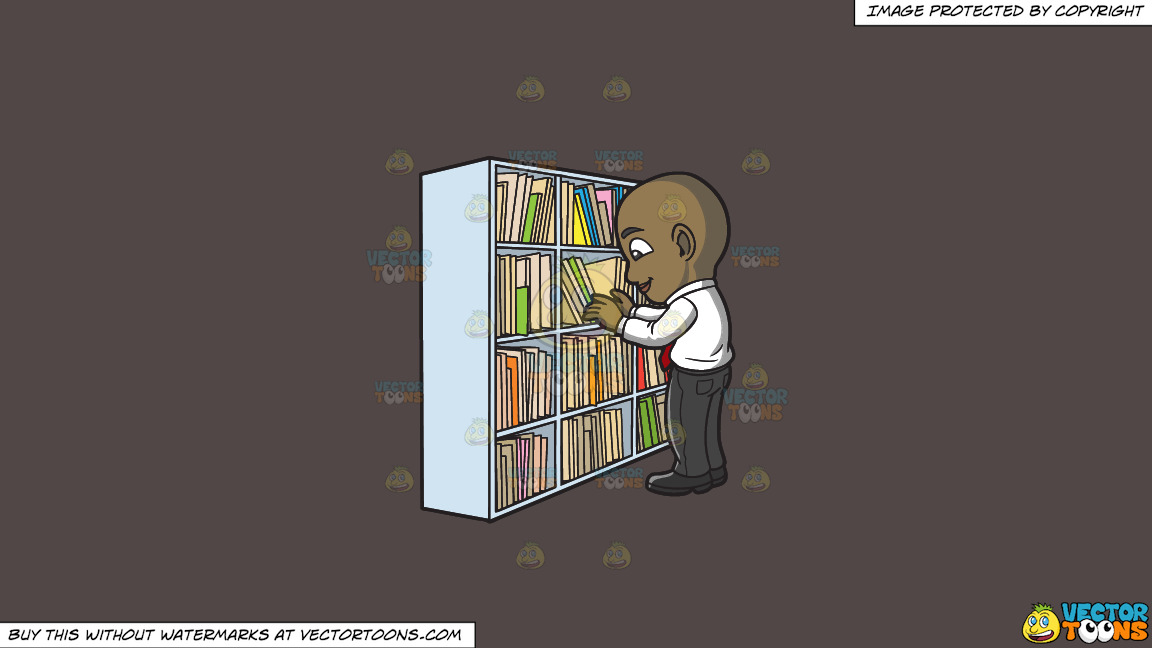 A Black Male Office Worker Scanning Folders In The File Room On A Solid Quartz 504746 Background thumbnail