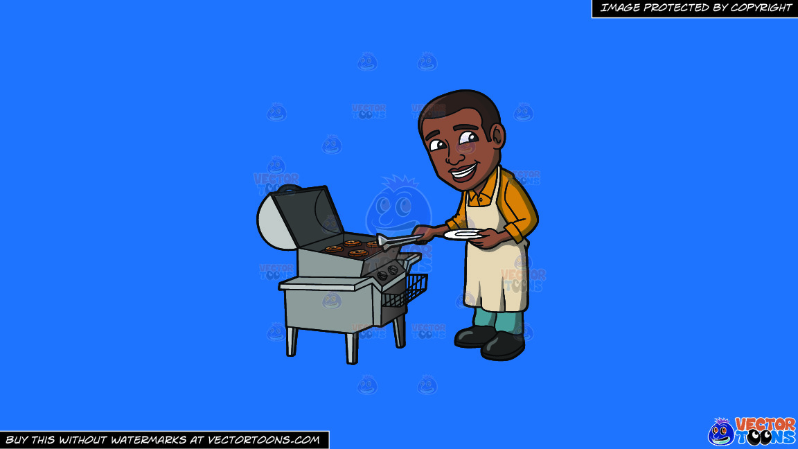 A Black Man Cooking Burger Patties On A Griller On A Solid Spanish Blue 016fb9 Background thumbnail