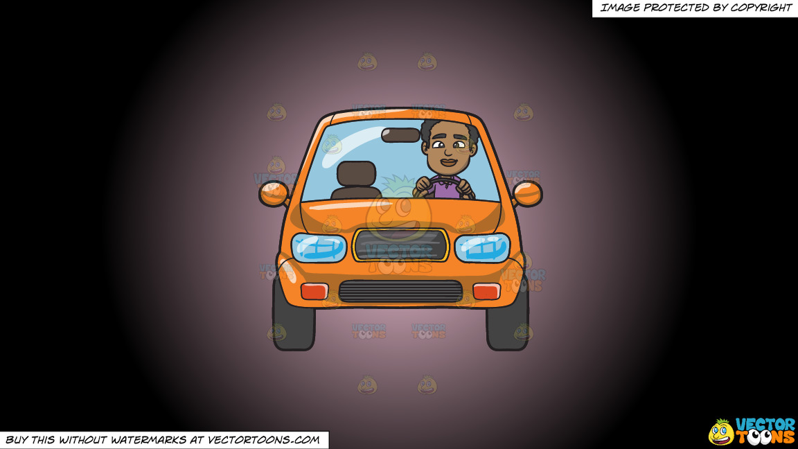A Black Man Driving An Orange Compact Sedan On A Pink And Black Gradient Background thumbnail