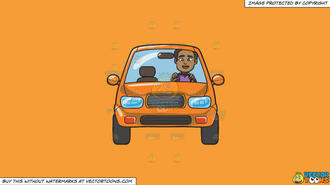 A Black Man Driving An Orange Compact Sedan On A Solid Deep Saffron Gold F49d37 Background thumbnail