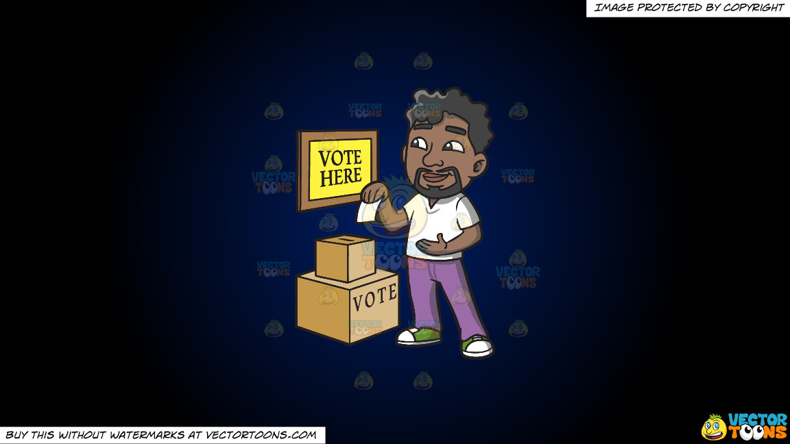 A Black Man Dropping His Ballot In The Box On A Dark Blue And Black Gradient Background thumbnail