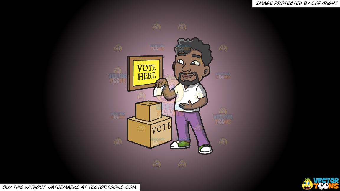 A Black Man Dropping His Ballot In The Box On A Pink And Black Gradient Background thumbnail