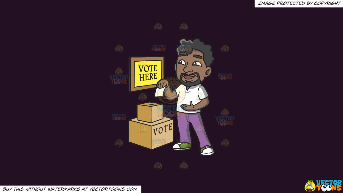 A Black Man Dropping His Ballot In The Box On A Solid Purple Rasin 241023 Background thumbnail