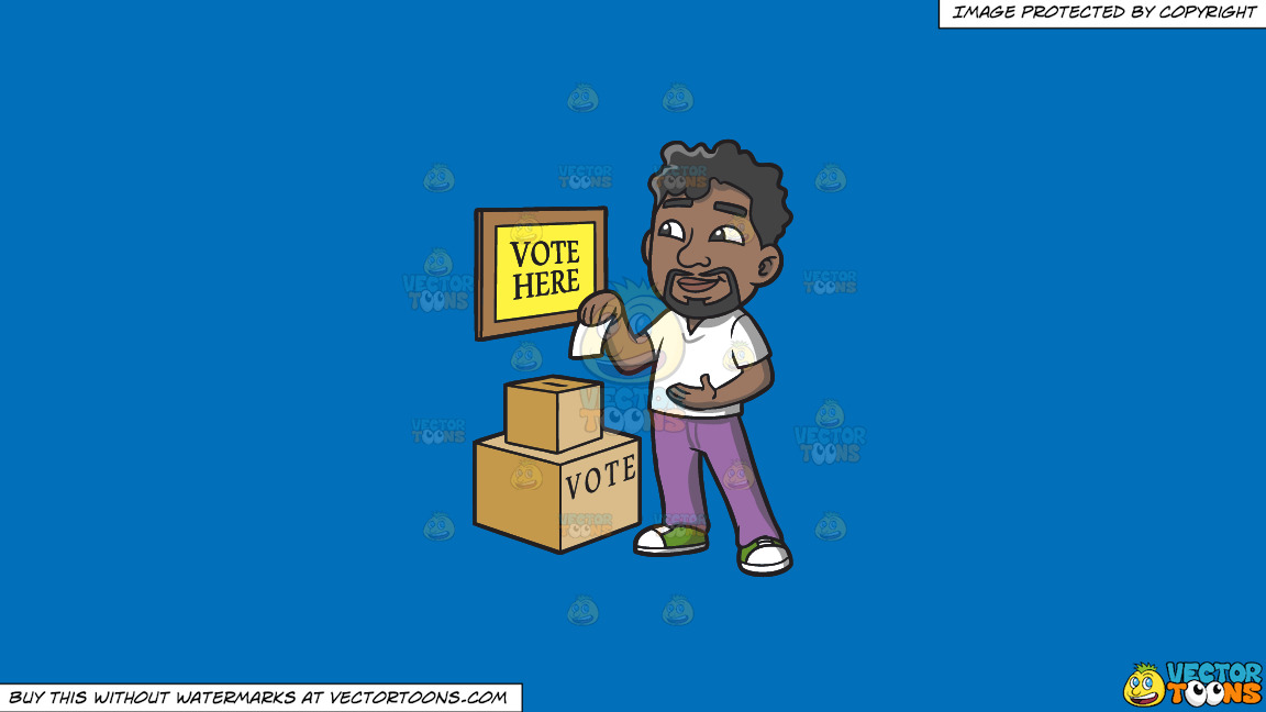 A Black Man Dropping His Ballot In The Box On A Solid Spanish Blue 016fb9 Background thumbnail