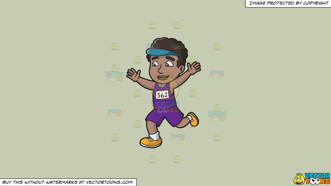 A Black Man Finishing A Marathon On A Solid Pale Silver C6ccb2 Background thumbnail