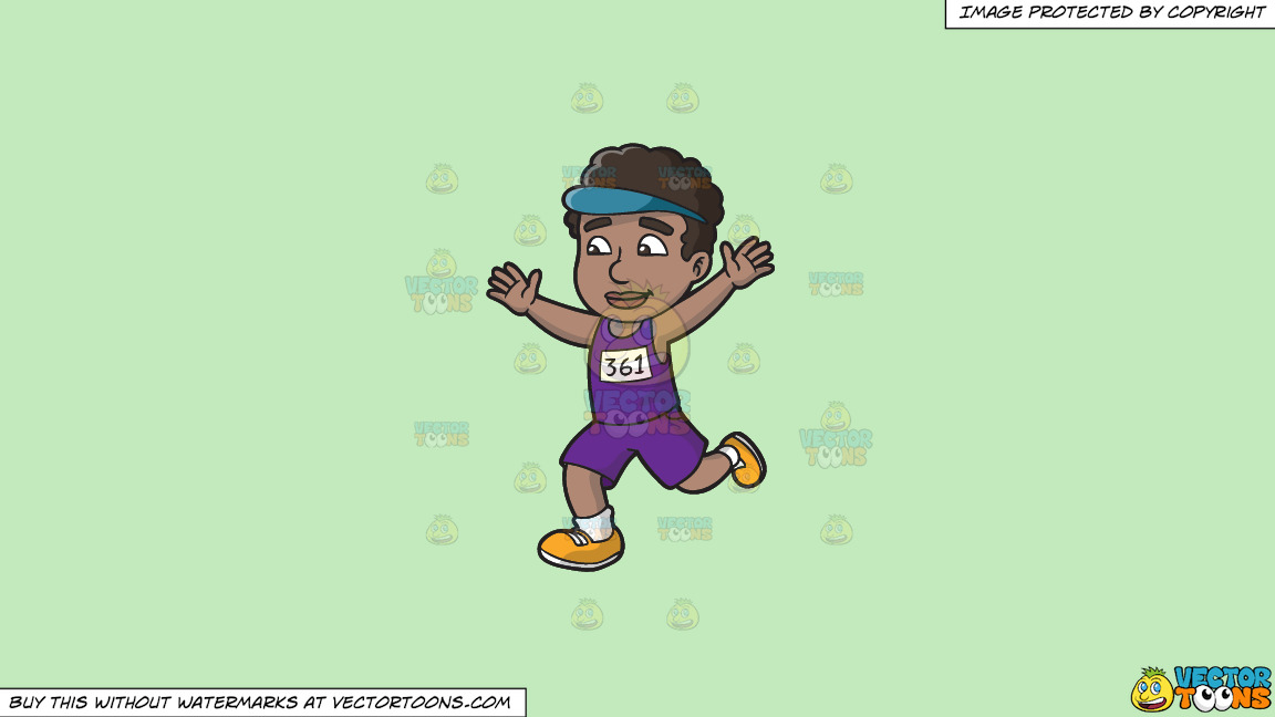 A Black Man Finishing A Marathon On A Solid Tea Green C2eabd Background thumbnail