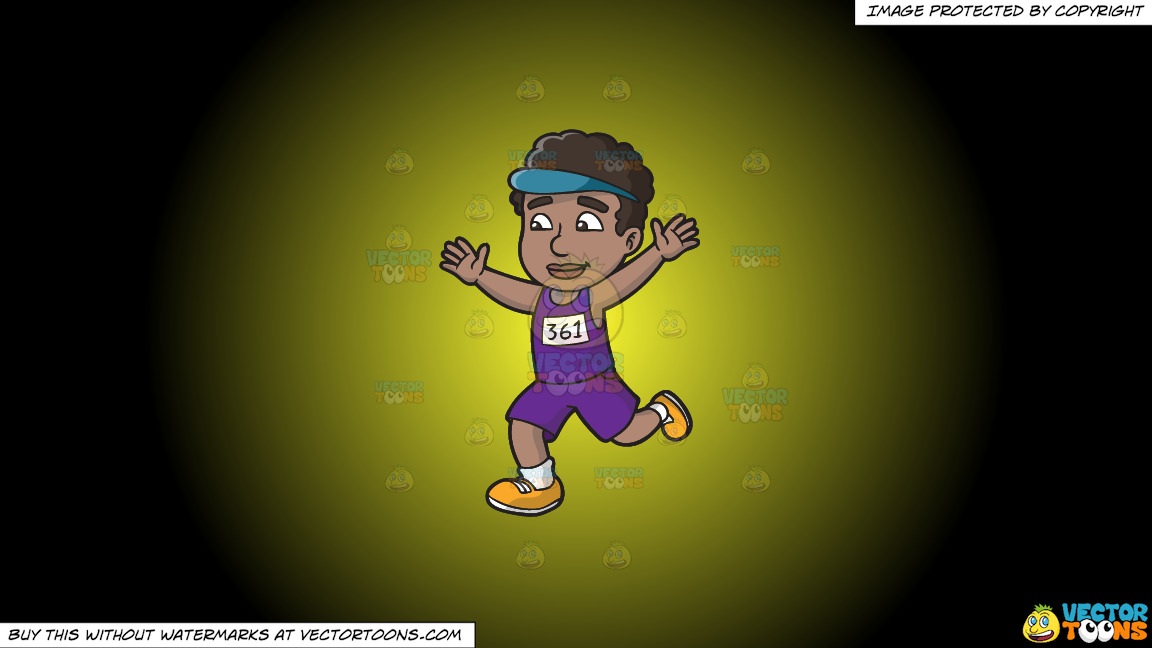 A Black Man Finishing A Marathon On A Yellow And Black Gradient Background thumbnail