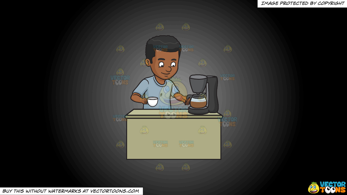A Black Man Getting A Cup Of Freshly Brewed Coffee On A Grey And Black Gradient Background thumbnail
