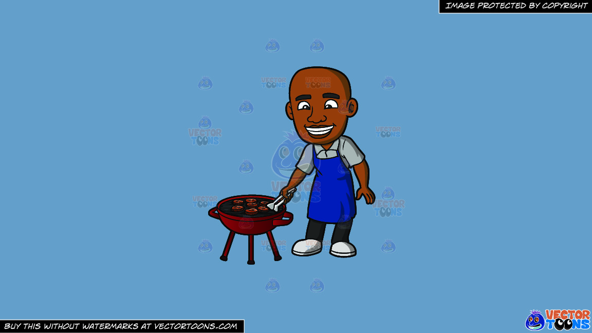 A Black Man Grilling Burger Patties On A Solid Shadow Blue 6c8ead Background thumbnail
