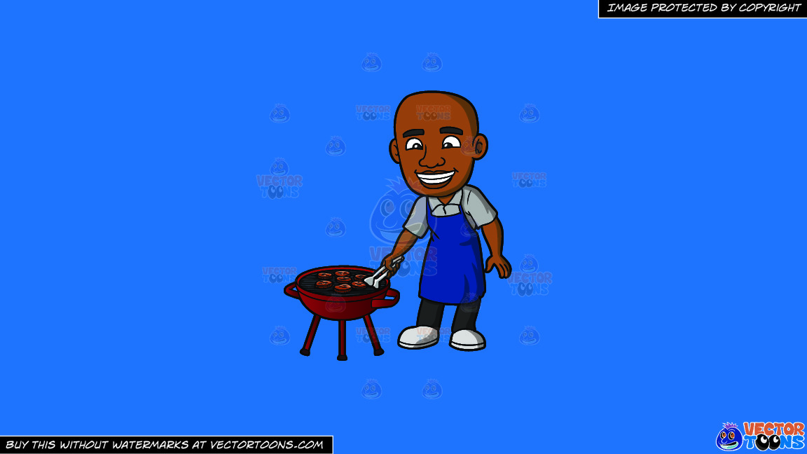 A Black Man Grilling Burger Patties On A Solid Spanish Blue 016fb9 Background thumbnail