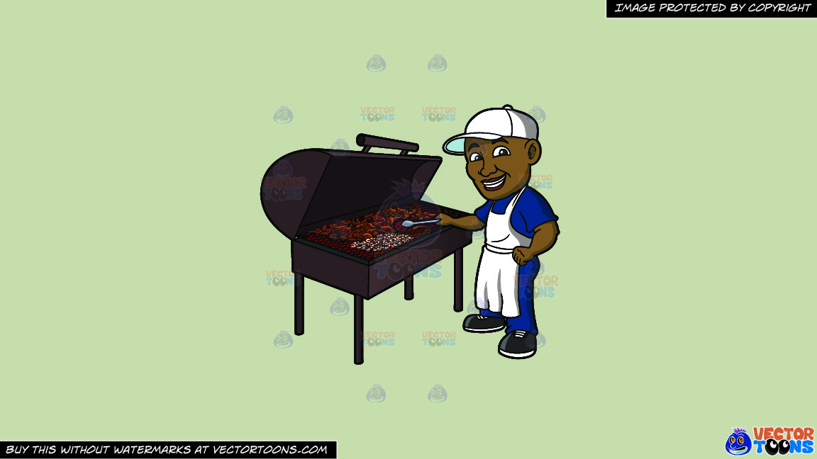 A Black Man Grilling Chicken On A Solid Pale Silver C6ccb2 Background thumbnail