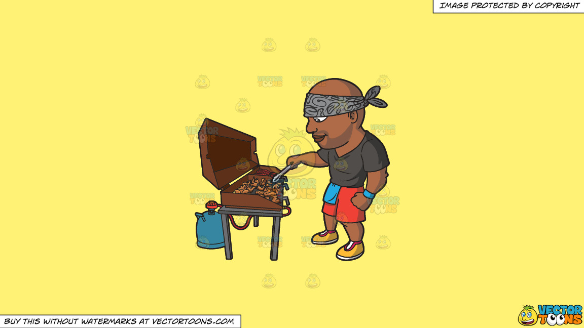 A Black Man Grilling Chicken Wings And Baby Back Ribs On A Solid Sunny Yellow Fff275 Background thumbnail