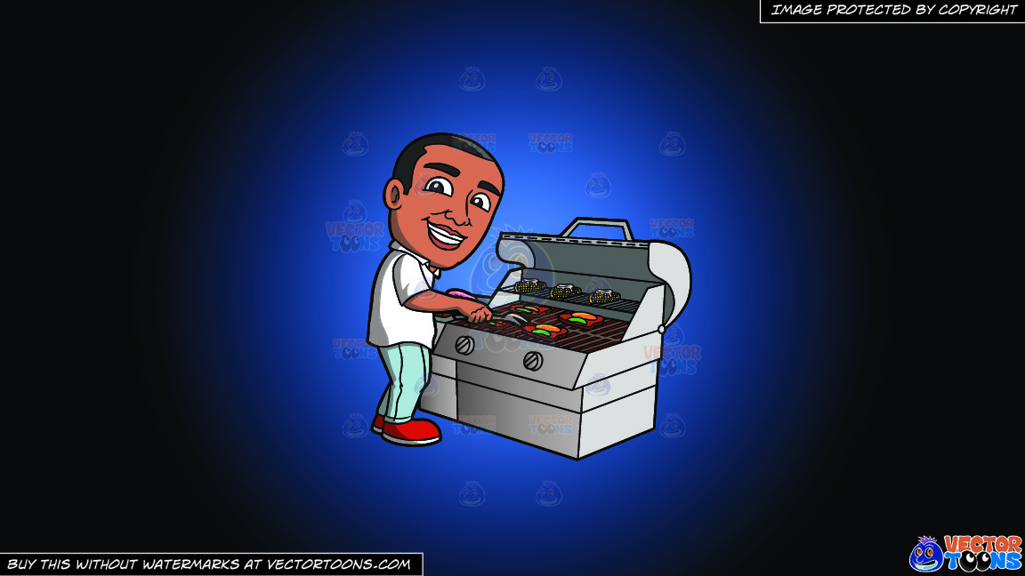 A Black Man Grilling Steak And Vegetables On A Blue And Black Gradient Background thumbnail
