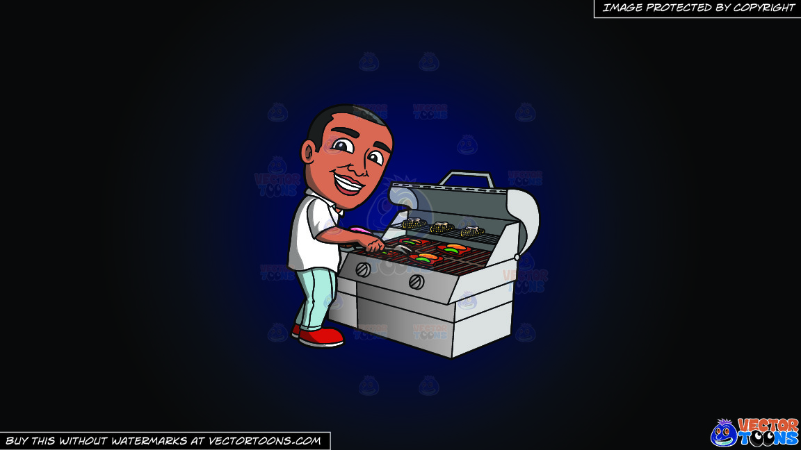 A Black Man Grilling Steak And Vegetables On A Dark Blue And Black Gradient Background thumbnail